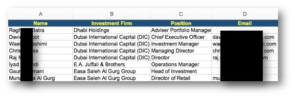 Investors List Sample Excel